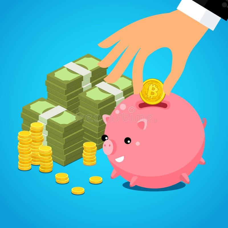 Dé poner el dólar del bitcoin en la hucha del ahorro ilustración del vector