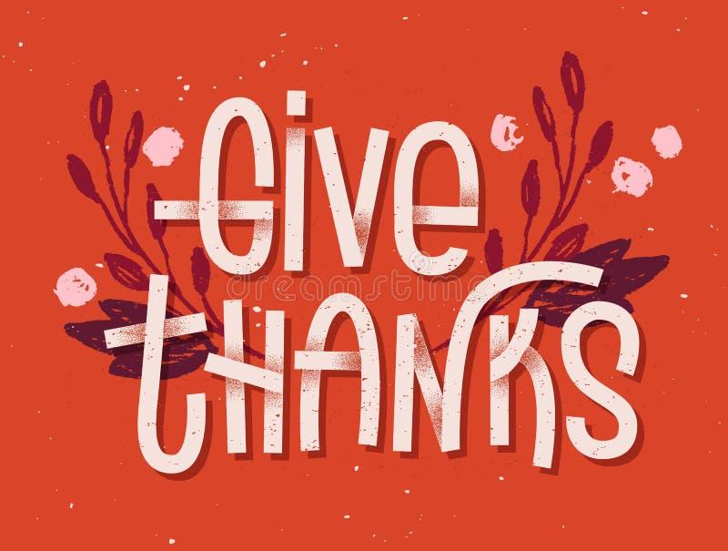 Dé poner letras de las gracias La prensa de copiar inspiró la tarjeta de felicitación ilustración del vector