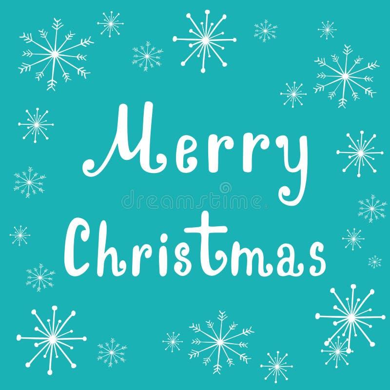 Dé poner letras a vector de la Feliz Navidad para mandar un SMS con los copos de nieve, plantilla caligráfica de las letras, tipo ilustración del vector