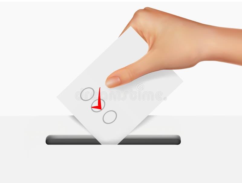 Dé poner una balota de votación en una ranura del rectángulo. stock de ilustración