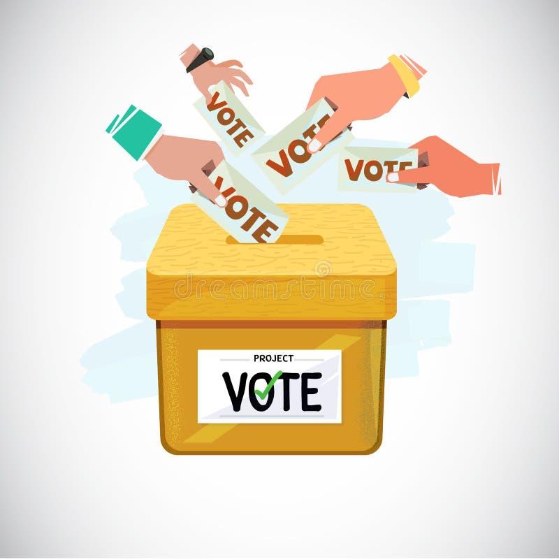 Dé poner voto en la caja Concepto de la votación y de la democracia - vecto stock de ilustración
