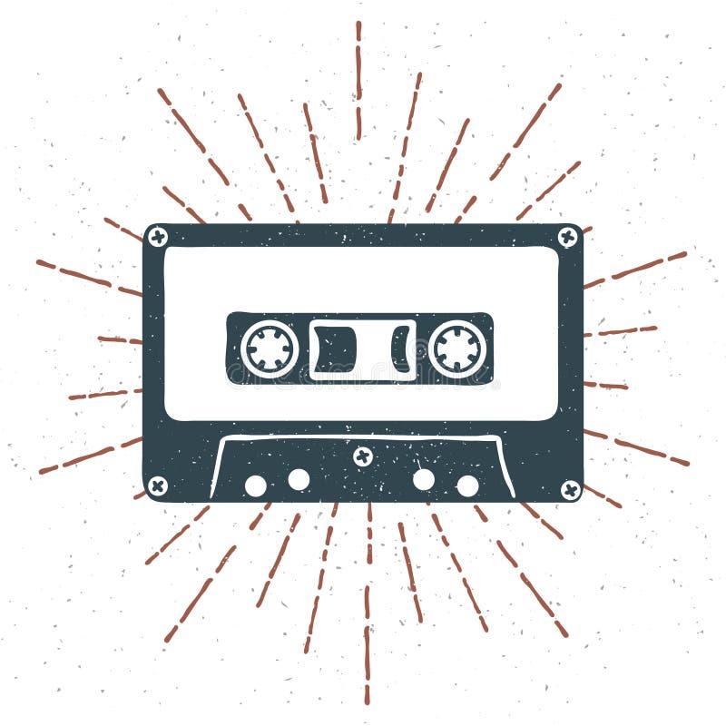Dé a 90s exhausto la insignia temática con grunge de la cinta de casete audio texturizada y vector del resplandor solar del vinta stock de ilustración