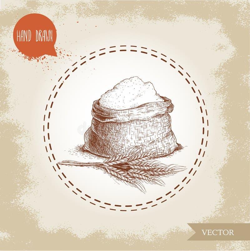 Dé a saco exhausto del estilo del bosquejo con la harina entera al manojo del trigo stock de ilustración