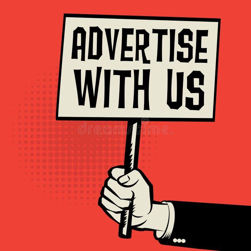 Dé sostener el cartel, concepto del negocio con el texto hacen publicidad con u libre illustration
