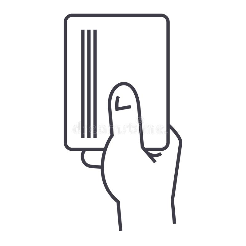Dé sostener el papel, línea icono, muestra, ejemplo del vector de la tarjeta en el fondo, movimientos editable libre illustration