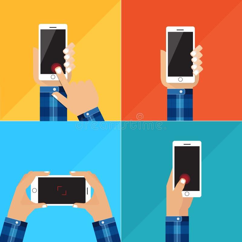 Dé sostener el smartphone blanco, pantalla negra en blanco conmovedora Usando el teléfono elegante móvil, concepto de diseño plan imagen de archivo libre de regalías