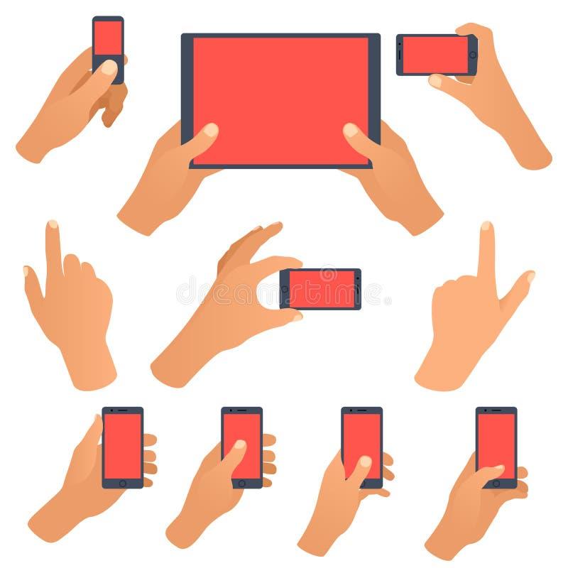 Dé sostener el smartphone negro, pantalla blanca en blanco conmovedora stock de ilustración