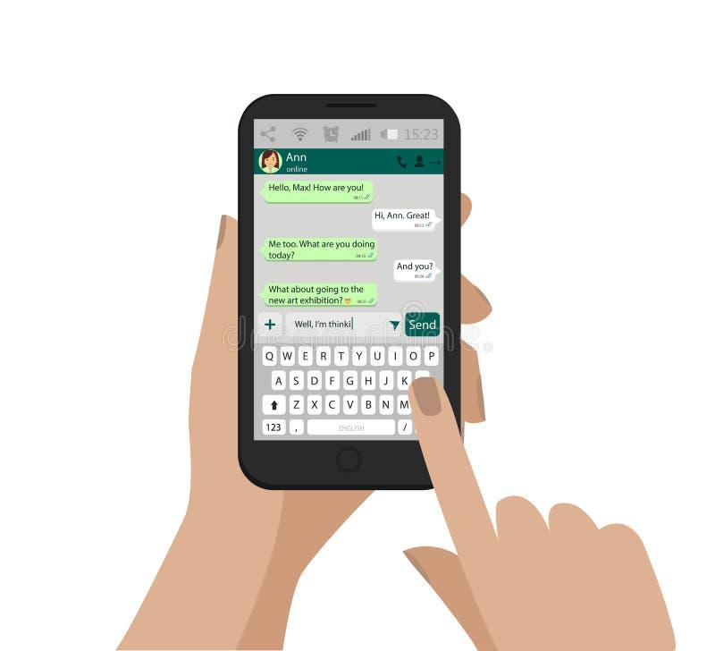 Dé sostener el smartphone, pantalla táctil y escriba el mensaje en red social Vector ilustración del vector
