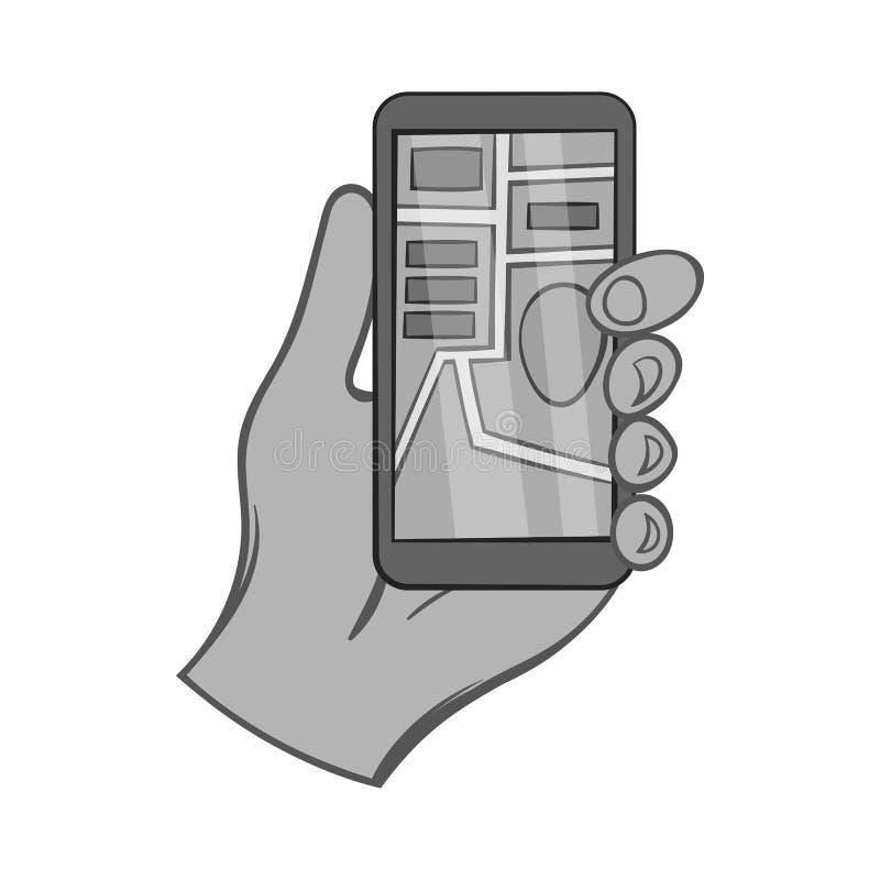 Dé sostener el teléfono con el icono de GPS, estilo monocromático ilustración del vector