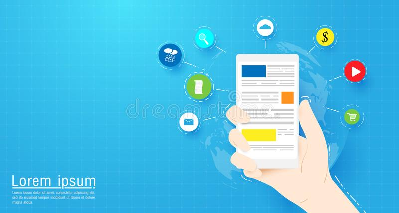 Dé sostener el teléfono elegante con los iconos sociales de los medios y del web Ejemplo plano del vector stock de ilustración