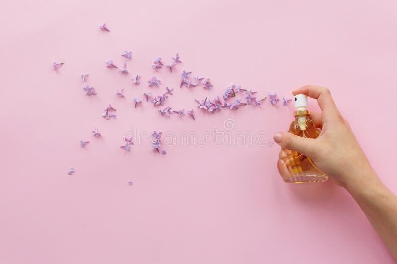 Dé sostener la botella elegante de perfume con el espray del flowe de la lila fotografía de archivo libre de regalías