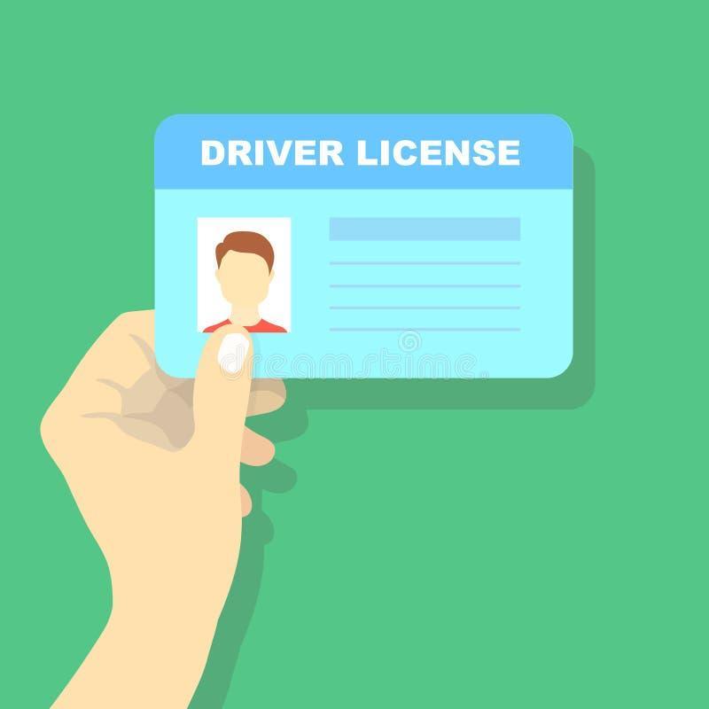Dé sostener la licencia de la conducción de automóviles, ejemplo de la tarjeta de la identificación stock de ilustración