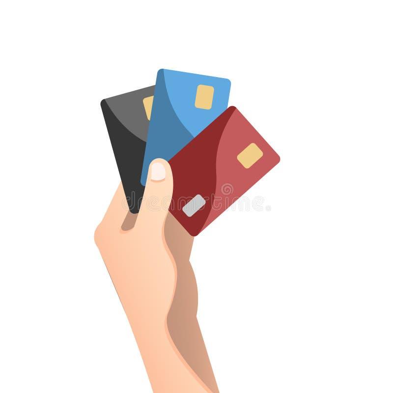 Dé sostener la tarjeta de crédito en estilo plano del diseño libre illustration