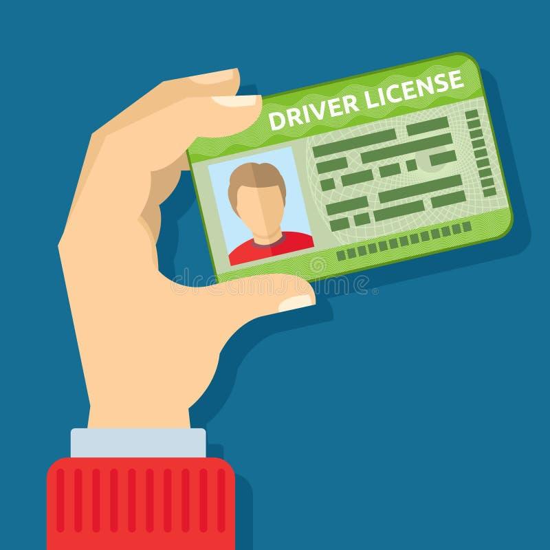 Dé sostener la tarjeta de la identificación, ejemplo del vector de la licencia de la conducción de automóviles ilustración del vector