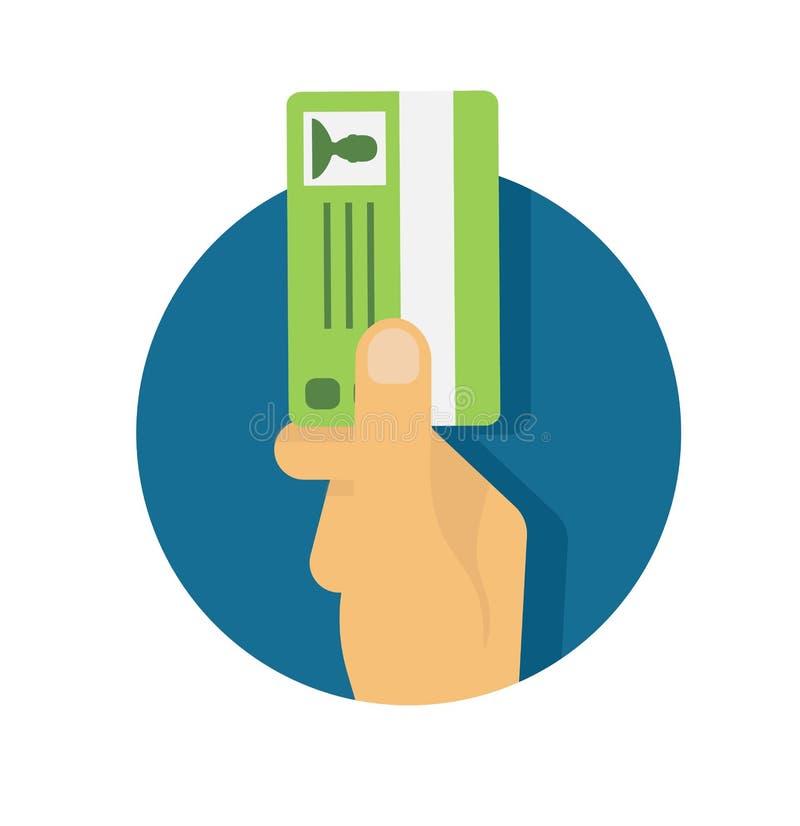 Dé sostener la tarjeta de la identificación, licencia de la conducción de automóviles ilustración del vector