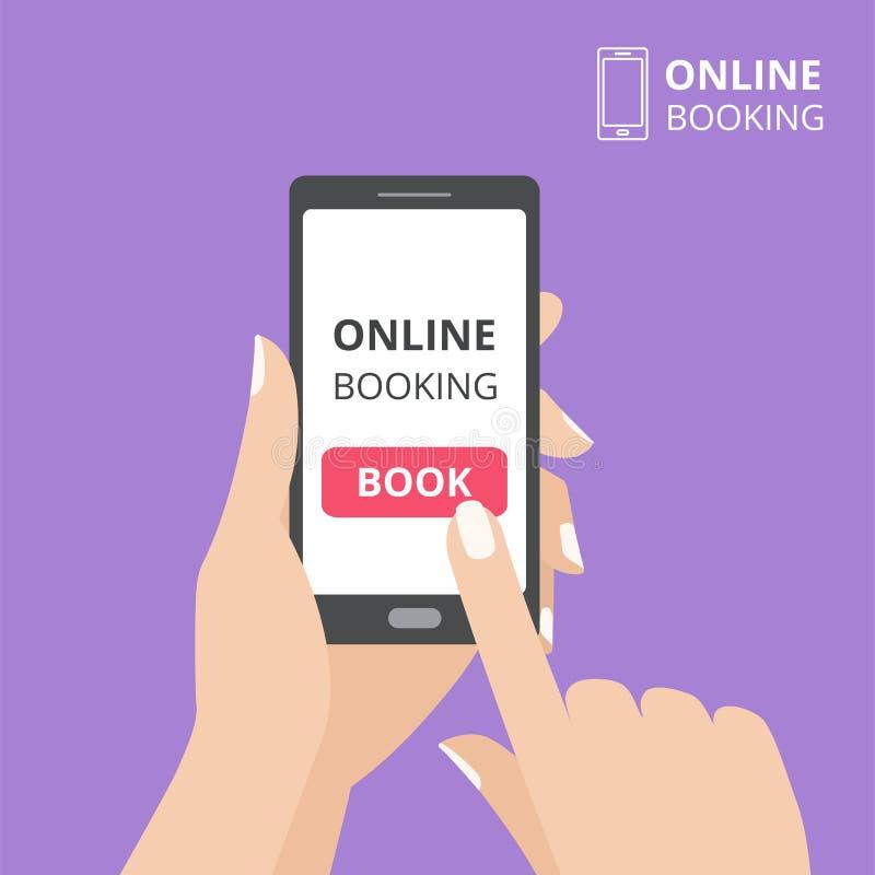Dé sostener smartphone con el botón del libro en la pantalla Concepto de aplicación móvil en línea de la reservación stock de ilustración