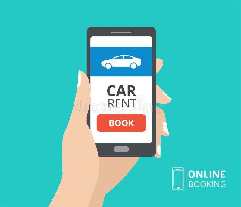 Dé sostener smartphone con el icono del botón y del coche del libro en la pantalla Concepto de diseño de la reservación en línea, ilustración del vector