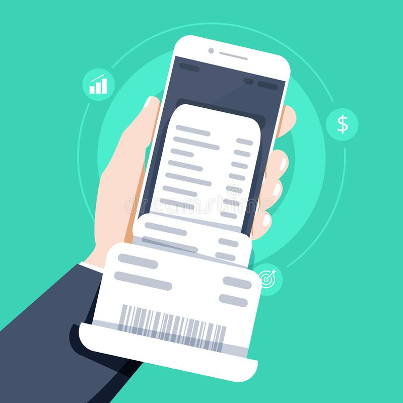 Dé sostener smartphone con el papel de la cuenta de la factura, teléfono móvil del estilo plano con el papel de la cuenta de la f ilustración del vector