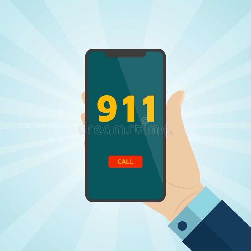 Dé sostener smartphone con la llamada de emergencia 911 en la pantalla libre illustration