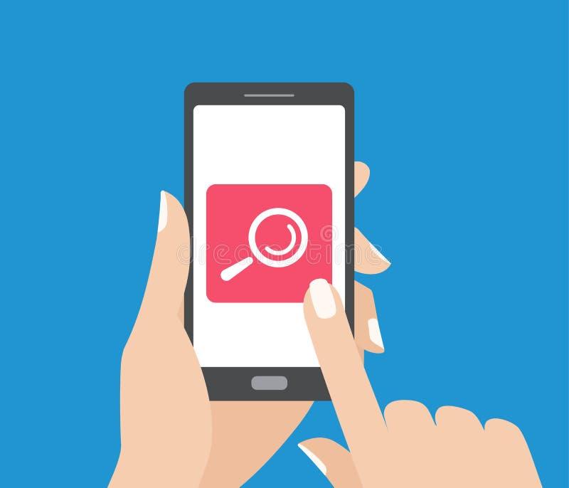 Dé sostener smartphone y el tacto de la pantalla con el botón de la búsqueda Icono de la lupa ilustración del vector