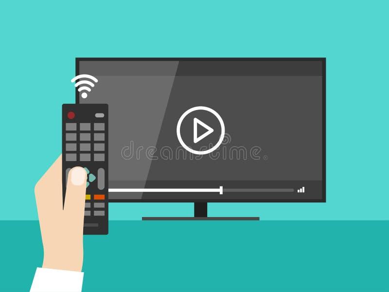 Dé sostener teledirigido inalámbrico, película video de observación de la pantalla TV libre illustration