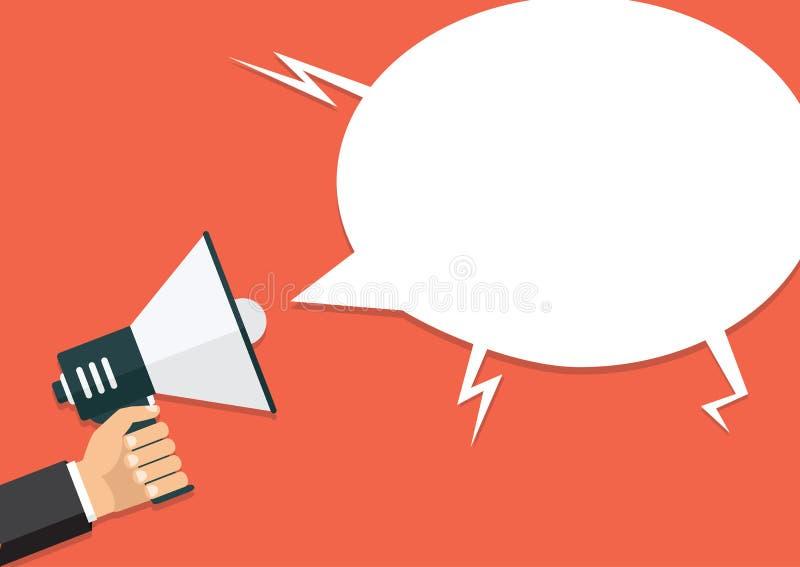Dé sostener un megáfono, diseño plano, promoción, medio social ilustración del vector