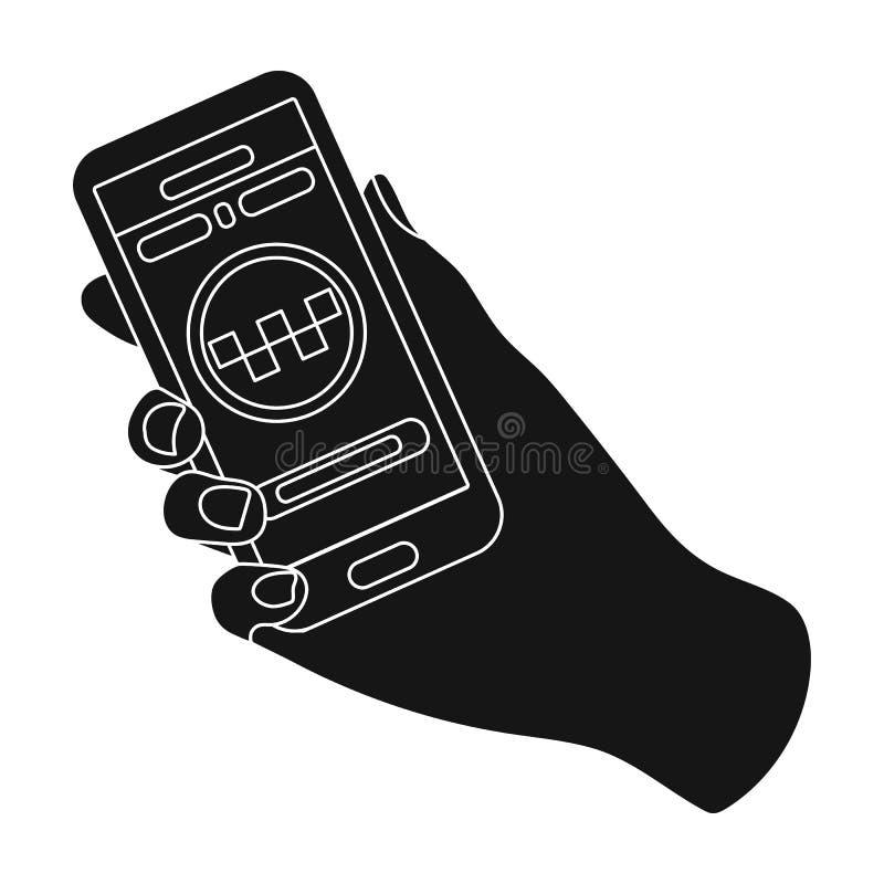 Dé sostener un teléfono a la llamada para el taksi de la orden Taxi del coche de Programm en línea Lleve en taxi el solo icono de stock de ilustración