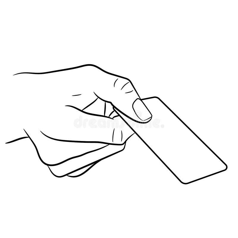 Dé sostener una tarjeta plástica en blanco de VE monocromática libre illustration