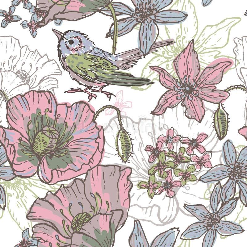 Dé a tema botánico exhausto el modelo inconsútil con el pájaro stock de ilustración