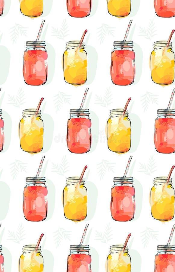 Dé a tiempo de verano exhausto del extracto del vector las frutas frescas orgánicas modelo inconsútil stock de ilustración