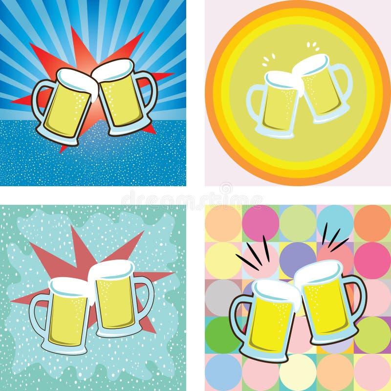 Dé una tostada del gráfico de la cerveza stock de ilustración