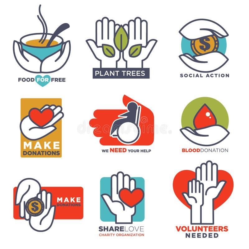 Dé a vector de los iconos las plantillas planas de las manos para el social, la comida, la donación de la caridad o el diseño méd ilustración del vector