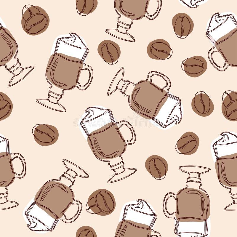 Dé a vector del drenaje el fondo inconsútil con las tazas de granos del latte y de café libre illustration
