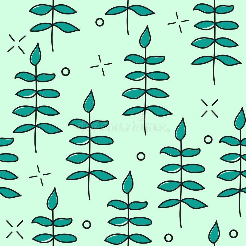 Dé a vector exhausto el modelo inconsútil con los elementos florales modelo - hojas, ramitas stock de ilustración