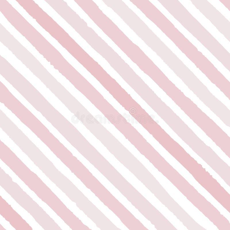 Dé a vector exhausto las rayas diagonales del grunge de los colores rosados brillantes inconsútiles stock de ilustración