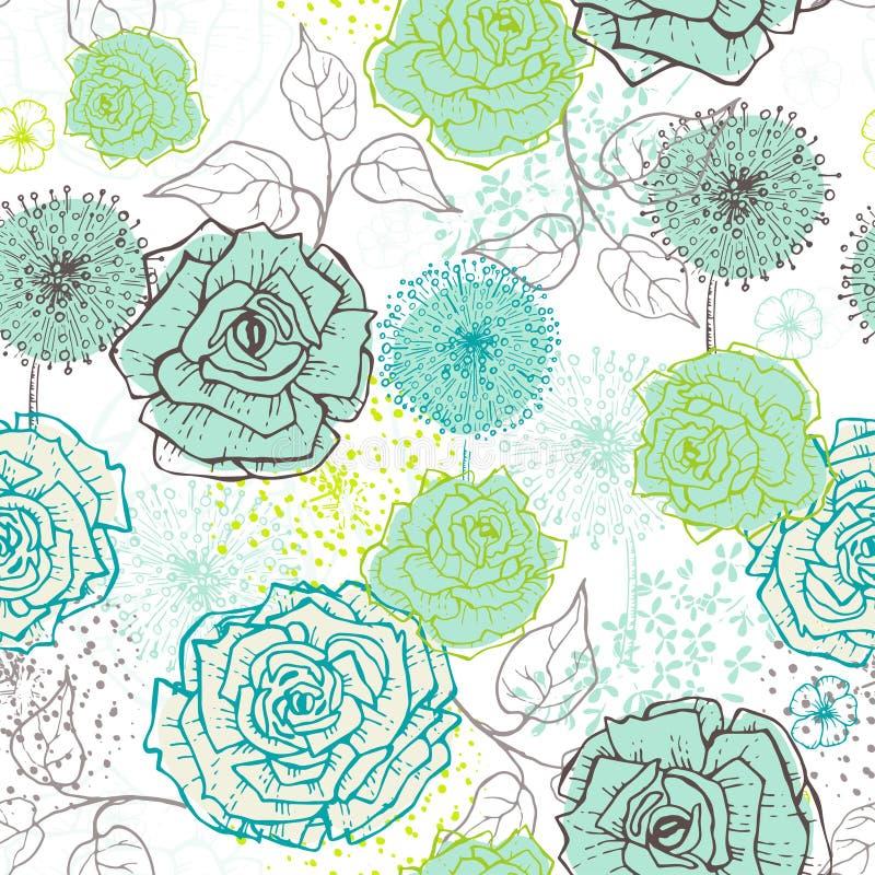 Dé a vintage exhausto el modelo inconsútil floral en tonos frescos ilustración del vector