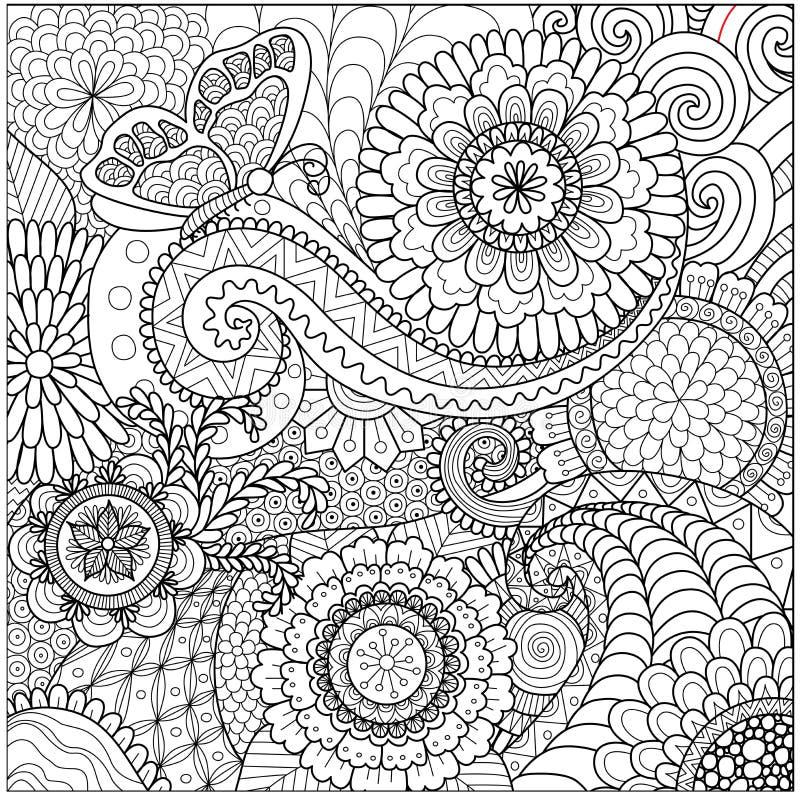 Dé a zentangle exhausto el fondo floral para la página que colorea ilustración del vector