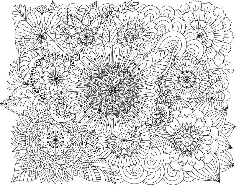 Dé a zentangle exhausto el fondo floral para la página que colorea stock de ilustración