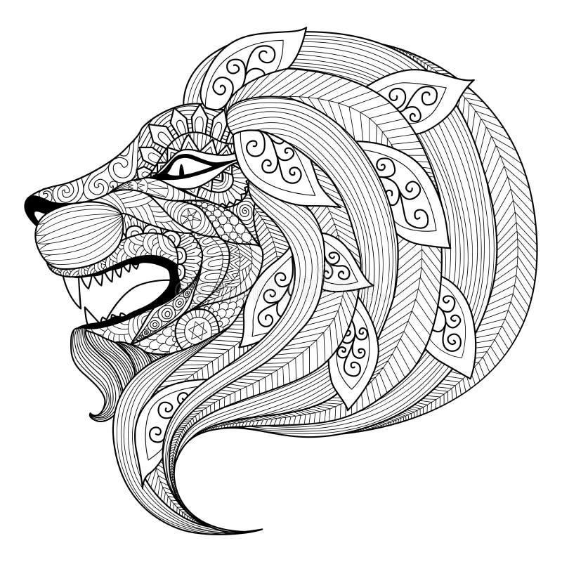 Dé a zentangle exhausto el perrito enojado del león para la página que colorea stock de ilustración