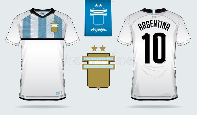 Débardeur de football ou conception de calibre de kit du football pour l'équipe de football de ressortissant de l'Argentine Unifo illustration de vecteur