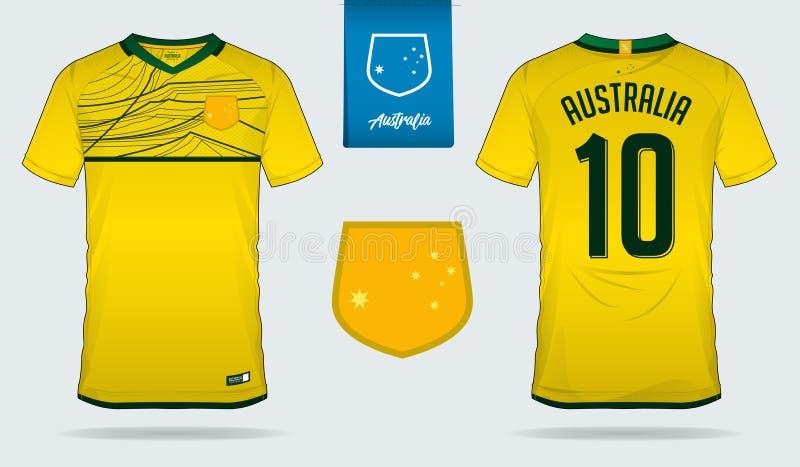 Débardeur de football ou conception de calibre de kit du football pour l'équipe de football de ressortissant d'Australie Uniforme illustration libre de droits