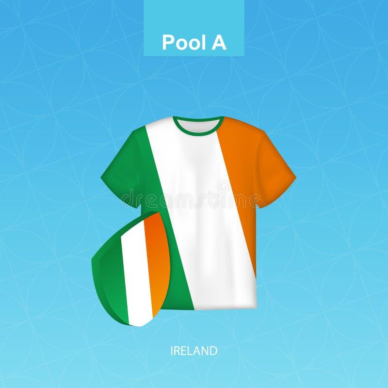 Débardeur de rugby d'équipe de l'Irlande avec le drapeau de l'Irlande illustration stock