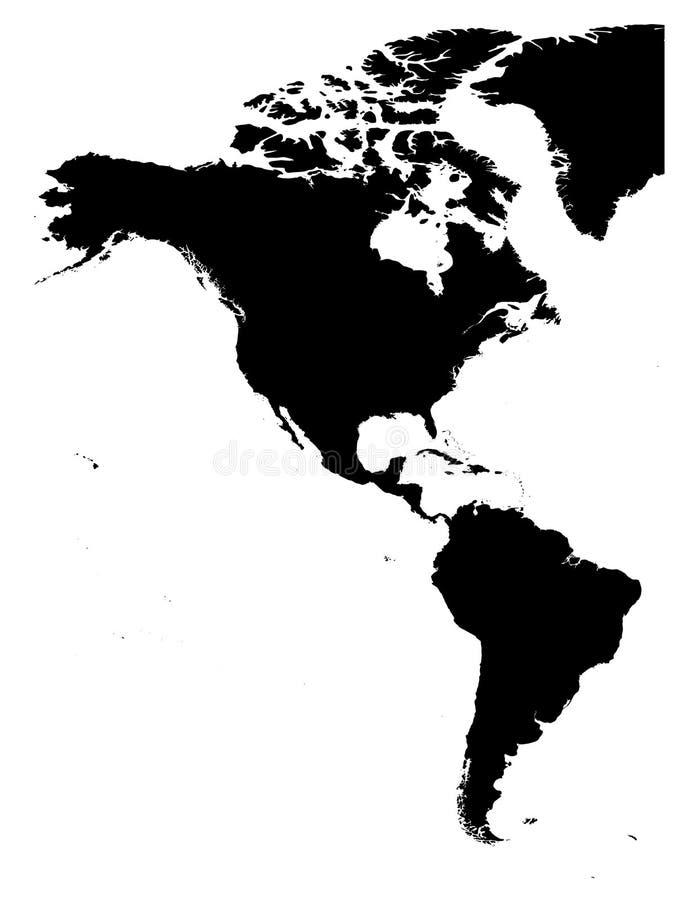 Débarquez la carte de silhouette des Amériques, nord et de l'Amérique du Sud, sur le fond blanc Illustration de vecteur illustration de vecteur