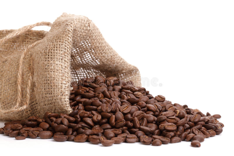 Débordement de grains de café images libres de droits