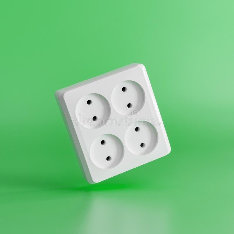 Débouché électrique blanc sur un fond vert Concept minimal photographie stock