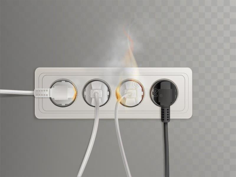 Débouché électrique brûlant avec le vecteur de prises de puissance illustration libre de droits