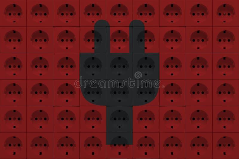 Débouchés électriques avec la silhouette de prise de puissance image stock