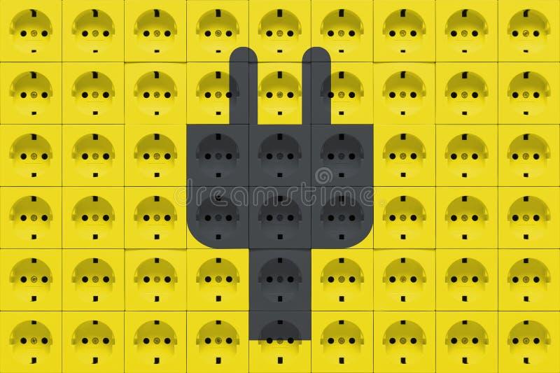 Débouchés électriques avec la silhouette de prise de puissance photo stock