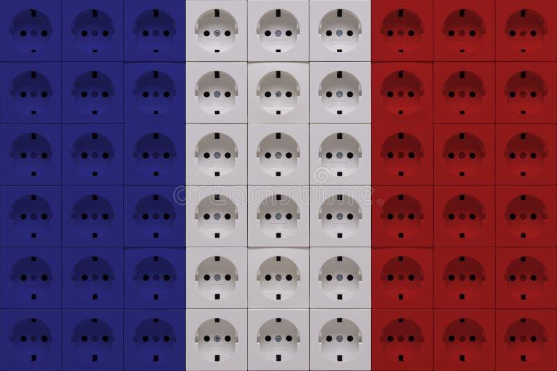 Débouchés électriques dans les couleurs du drapeau français image libre de droits