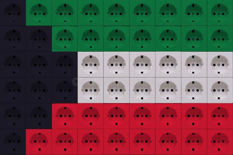 Débouchés électriques dans les couleurs du drapeau du Kowéit photographie stock libre de droits